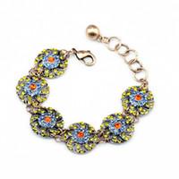 Wholesale Retro Women Fashion Bracelets Six Yellow Crystal Hollow Round Flower Tennis Bracelets For Women Top Quality