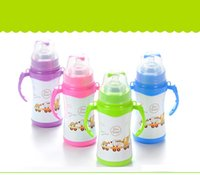 Wholesale Stainless steel infant bottles with straw handles wide diameter double deck baby baby dual vacuum keep warm glass straw cover drink cup