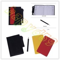 Wholesale new soccer champion yellow and red cards Referee special warning signs Red yellow cards pen recording paper