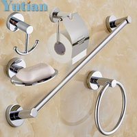 Wholesale Round Stainless Steel Bathroom Accessories Set Soap dish Robe hook Paper Holder Towel Bar set YT10900
