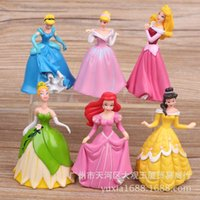 belle ornaments - 6pcs set The latest princess dream world generation snow white Belle Cinderella Sleeping Beauty figure doll doll ornaments