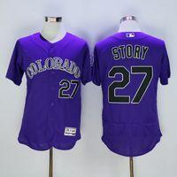 Wholesale Colorado Rockies Trevor Story New Men Purple Jerseys MLB Baseball Jersey Free Drop Shipping Mix order