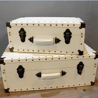 Wholesale Nordic retro white leather box portable wooden props box store photography window display decoration decoration