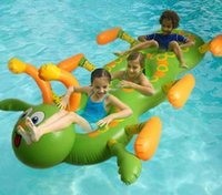 Wholesale summer new children three Swim ring Thicken PVC Aerated Caterpillar Multiplayer Water Seats