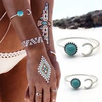 al por mayor vendimia de la pulsera del brazalete de color turquesa-1Pc vendimia bohemio tribales étnicas turquesa abierta puño pulsera luna sol abierto brazalete puño pulseras para las mujeres moda joyería