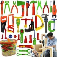 Wholesale 34pcs set House Boy Toy Electric Repair Tool Early Learning Education Children Diy Tool Desk Set Kids Pretend Play Toys