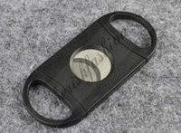 Wholesale DHL Fedex Free Pocket Cigar Cutter Plastic Stainless Steel two Blades Scissors Cigar knives good gifts M349 B