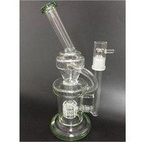 Green Glass water bongs matrice perc recycler dab platform bongs Oil Burner tuyaux d'eau en verre 254 mm de hauteur 19 mm avec des accessoires en verre