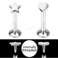 Wholesale 16G m6 m mm Star Heart Top Internally Threaded Labret Monroe Lip Bar Ring Stud Body Jewelry Tragus ear Rings
