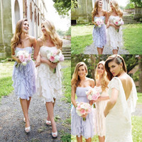 chiffon tea length bridesmaid dresses - 2016 Lavender Strapless Ruched Ruffles Skirt Bridesmaid Dresses Tea Length Summer Boho Country Style Cheap Maid of the Honor Dresses