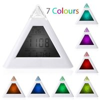 Wholesale Digital Alarm Clock Triangle Pyramid Color Display Light activated with Date and Temperature Clock Radios