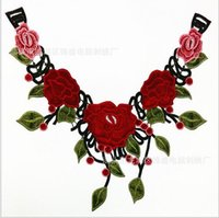 Wholesale Red Green Flower Embroidered Lace Fabric Ribbon Trim Neckline Collar Applique Patch Scrapbooking Embossed Decorated Sewing