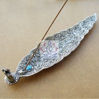 Wholesale Metal Incense Holder Leaf Shaped with A Fortune Elephant Indian Incense Holder mm