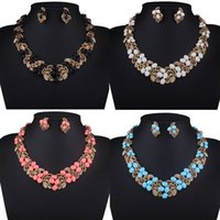 Wholesale 2016 New Design Handmade Resin Rhinestone Beaded Imitation Gold Plated Leaf Chains Choker Graduated Necklace Sets With Earrings Free