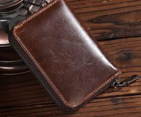 Wholesale New vintage genuine top layer cowhide Men business Card holder Coin purse Short wallet