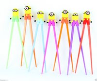 Wholesale to world Lucky Lots5pairs Minions Kids training Helper Learning Fun Gift Toy Cheater Chopsticks gift