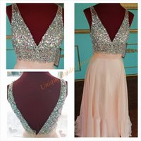 big plunge - 2016 Beautiful Blush Prom Dresses with Plunging Neckline and Backless Real Picture Big Crystals Sequins Custom Guest Gowns Floor Length