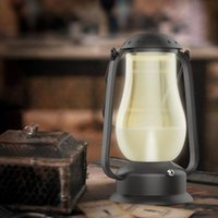 barn lantern lights - Flameless Blowing Control LED Lamp Retro Barn Lantern USB Rechargeable LED Desk Night Light Outdoor and Indoor Blow LED Lamp Light