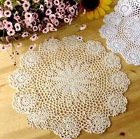 Wholesale Beige white Handmade Lace round crochet doilies cotton Placemat tea towel cm diameter