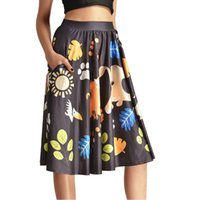 autumn sun skirt - NEW Sexy Girl Women Summer Cartoon boar Deer Sun Leaf D Prints Skater Pleated Skirt Knee Skirts With Pocket