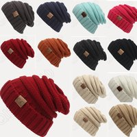 Beanie/Skull Cap other Casual 12 Color Men Women Knitted Hat CC Trendy Winter Warm Oversized Chunky Soft Cable Knit Slouchy Beanie Crochet Hats PPA454