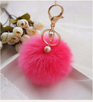 balls holder - 2016 Rabbit Fur Ball Key Chain For Car Cute Fluffy Ball Keychain Bag Pendant Simulation Key Ring Holder Keychains Q7 BY DHL