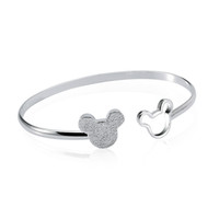 Wholesale Factory direct Sterling Silver Double Mickey Bangle Bracelet Fashion Silver Bracelet Charm