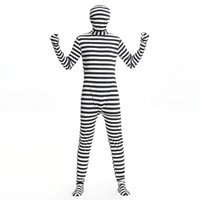 Wholesale new muscle man stealth prisoners black and white striped stage costume role play clothing