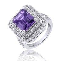 alexandrite diamond rings - 8 Ct Alexandrite Diamond Simulant K White Gold Over Halo Ring