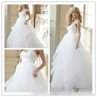 Wholesale Vestido De Novia Vintage White Ball Gown Wedding Dresses Sweetheart Sleeveless White Custom Made Organza Cheap Wedding Dress Bridal Gowns