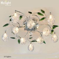 alluminum wire - Modern Fashion Crystal chandelier de lustre For Living Room lights green leaves alluminum wire ball flush mounted lamps