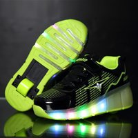 single wheel shoes - Led Heelys Junior USB Boys Children Roller Shine Girls Sport For Kids Soles Will Light Single Child Wheels Pulley Glow Baby Skateboard Shoes