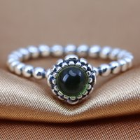 august birthdays - 100 S925 Sterling Silver European Pandora Style Jewelry Birthday Blooms August Ring with Peridot Fashion Charm Ring