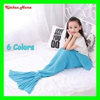 Wholesale 2 Kids Mermaid Tail Blanket Super Soft Hand Children Sofa Blanket Air condition blanket Crocheted Popular Fashion Sleeping Bag