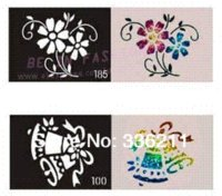 Wholesale 60pcs mixed styles Glitter Tattoo stencil Body Painting design airbrush Temporary Tatoo Kit template supplies
