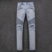 Wholesale 2016 new mans balmain jeans brand famous brand mens jeans Retro Bronze balmain men Modern ripped skinny