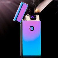 arc shipping - 2015 Hot Excellent Styles USB Rechargeable Flameless Electric Double Arc Windproof Cigar Cigarette Lighter