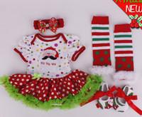 Bébé garçons filles Noël combinaisons bébé nouvel an robe de coton coton robes Boutique vêtements enfants porter pompon jupe 4pcs GLS006A