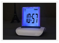 Wholesale Big sale Fashion Design multifunction Push Panel Color Changing LCD Clock Colors LED Blacklight Alarm Clock