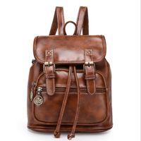 Wholesale QINGMU new women fashion designer brand backpacks vintage leather shoulder bag retro small lady schoolbag mochila cute bags