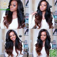 Wholesale Long Brown Wavy Wigs Prices - Factory Price Two Tone 1b# #4 Brown Ombre Wig Human Hair Natural Wave Malaysian Wavy Hair U Part Wig None Lace Free Shipping