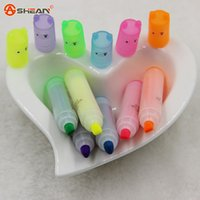 Wholesale Mini Highlighter Creative Lovely Cartoon Painting Pen Marking Pens Students Learn Stationery Supplies
