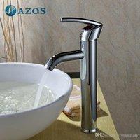 Wholesale AZOS Bathroom Basin Tap Brass Chrome Polish Color Single Hole Deck Mount Hot Cold Mixer Toilet Sink Faucet Furniture Replacements MPDKZ117