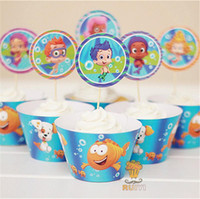 baby shower candy wrappers - 120set Bubble Guppies cupcake wrappers toppers picks kids birthday party favors cupcake cases candy bar baby shower AW