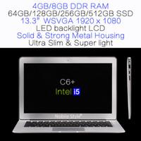 Wholesale Logo Customization inch Intel i5 GB Ram GB SSD hard disk laptop LED backliight LCD Windows7 Win8 Win10 metal case slim C6 i5