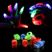 Wholesale 4 X LED Finger Lights Lamps Party Laser Finger Light Up Beam Torch Glow Ring