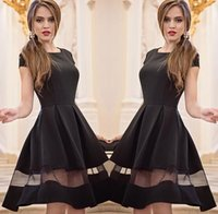big round neck - 2016 new womens round neck Black solid color stitching gauze big swing dress Ladies Casual Plus Size dresses