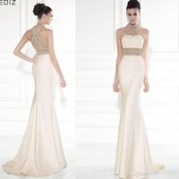 Wholesale Classic Women Jackets - Tarik Ediz 2017 Mermaid Evening Dresses High Neck Gold Beading Backless Pageant Runway Dress Gowns For Women Prom Dresses