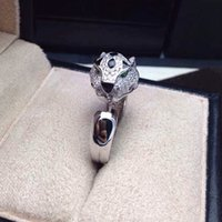Wholesale Free Shipment Designer Style Women Sterling Silver With Platinum Plated Zircon Panther Ring