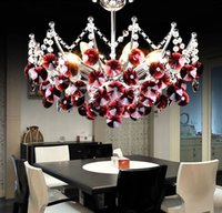 Wholesale Modern Lustre Crystal Chandelier Light K9 Transparent Black Purple Red cm Crystal Lighting E14 LED Bulbs Lamp Dining Room